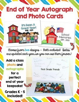End Of Year School Memories Autograph and Photo Cards - Two Designs!