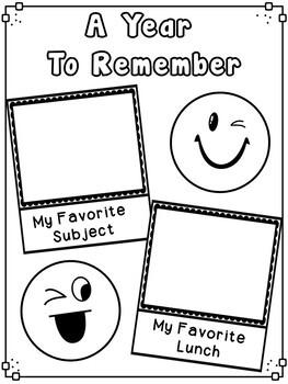 End Of Year Emoji Memory Book - Third Grade