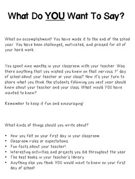 Letters to Future Students: End of Year Writing Activity