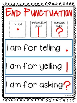 End Punctuation Anchor Chart - FREE