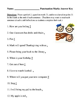 End Punctuation Review Worksheet or Homework Assignment with Answer Key