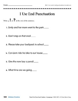 End Punctuation (Take It to Your Seat Centers: Common Core Language)