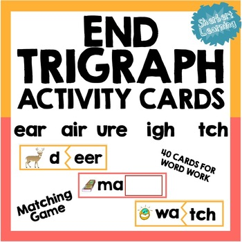 End Trigraph Activity Card Games - for word work or readin