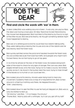 End Trigraph Stories - Reading Comprehension Passages - ear, air, ure, igh, tch