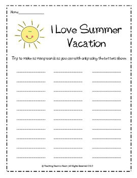 End and Beginning of the Year Summer Word Bank Activity