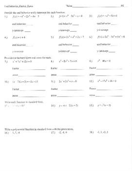 Polynomial Worksheet | Teachers Pay Teachers