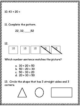 End of 1st Grade Math Assessment
