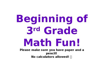 End of 2nd/Beginning of 3rd Grade Math Assessment (Based on CC Standards)