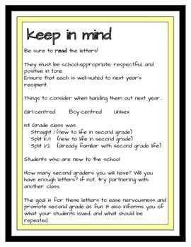 End of 2nd Grade Advice Letters