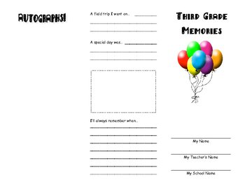 End of 3rd Grade Memory Brochure