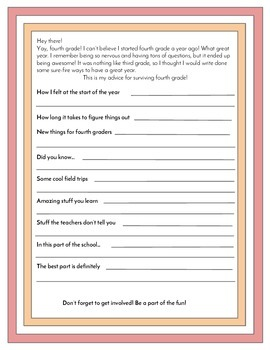End of 4th Grade Advice Letters