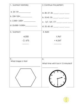 End of 4th Grade Summer Math Review- Based on Common Core