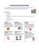 End of Book Project Ideas based on Story Elements Menu and Rubric