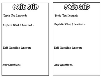 End of Class Exit Slips