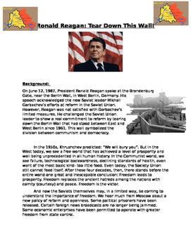 End of Cold War: Ronald Reagan Tear down the wall reading and guiding questions