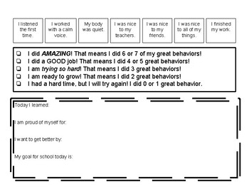End of Day Behavior Reflection and Goal Sheet