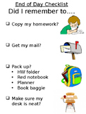 End of Day Checklist Editable