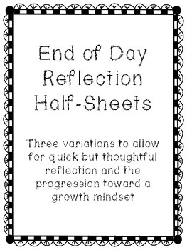 End of Day Reflection Form