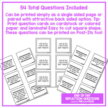 End of Day Reflection Questions (Exit Ticket)