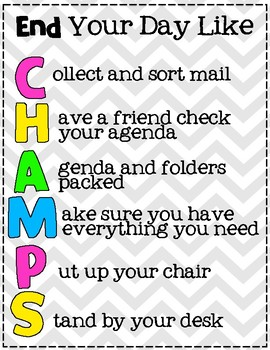 End-of-Day Routine CHAMPS Acronym Poster