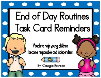 End of Day Routines Task Card Reminders (Blue Polka Dots)