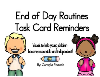 End of Day Routines Task Card Reminders to support PBIS (White)