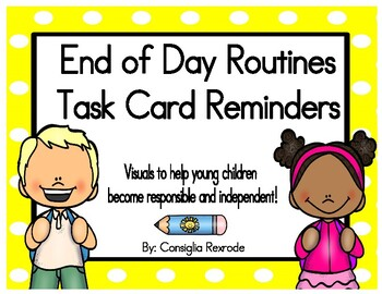 End of Day Routines Task Card Reminders (Yellow Polka Dots)