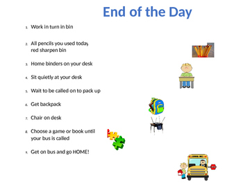 End of Day Schedule