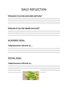 Social Skills: End of Day Student Reflection Sheet