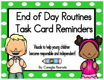 End of Day Routines Task Card Reminders (Green Polka Dots)