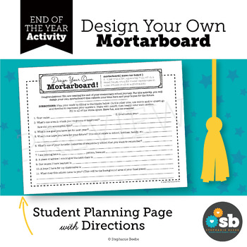 End of Elementary School Reflection One-Pager // Design Your Own Mortarboard