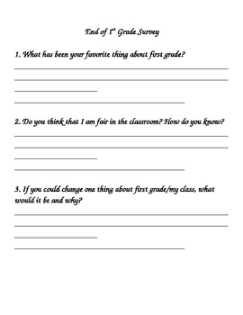 End of First Grade Survey/Reflection