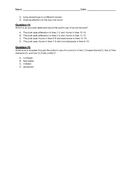 End of Grade Test Poetry Activity_Poem 4