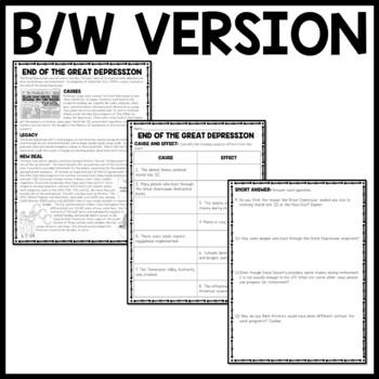 End of Great Depression  Reading Comprehension Worksheet, New Deal