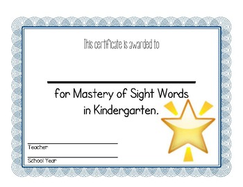 End of Kindergarten Awards