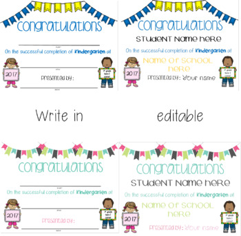 End of Kindergarten Certificates *EDITABLE and print and write*