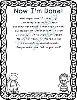 End of Kindergarten Poem with Handprint or Photo