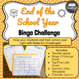 End of Middle School Bingo Challenge - an End of the Year Activity!