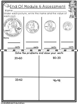End of Module 6 Math Assessment First Grade