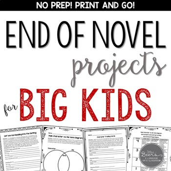 End of Novel Projects for ANY NOVEL: Grades 4-6 Common Core Aligned