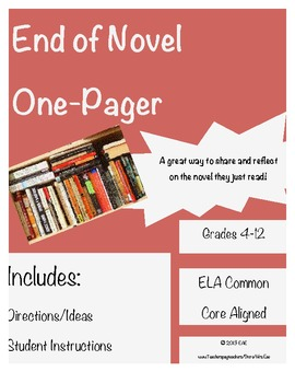 End of Novel/Book Report One-Pager