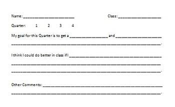 End of Quarter Goal Sheets