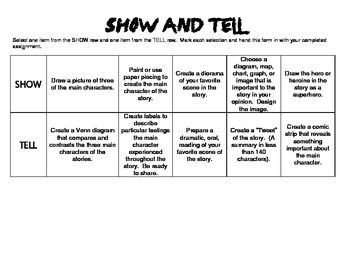 End of Reading Show and Tell Differentiated Project Choice Board