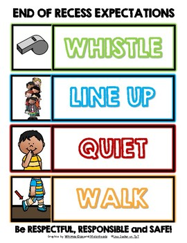 End of Recess Expectations WHISTLE, LINE UP, QUIET, WALK Sign