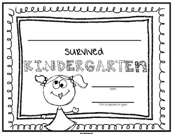 End of School Certificate (Kindergarten) I survived.....