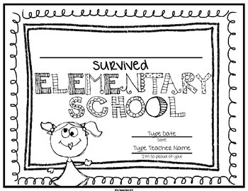 End of School Certificate (Sixth Grade) I survived.....