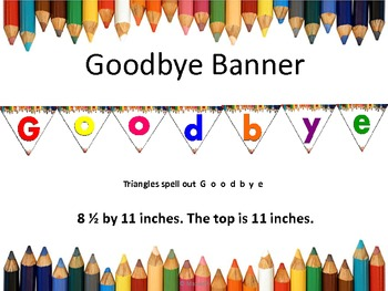 End of School Goodbye Banner Colored Pencils Borders