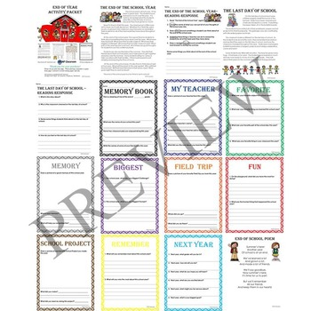 End of Year and Last Day of School Activity Packet and Memory Book