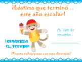 End of School - Memories Booklet in Spanish - Memorias del año escolar 2018