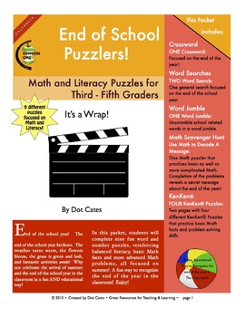 End of School Puzzlers!  9 Literacy & Common Core Math Puzzles: Gr. 3 - 5